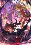 3boys 3girls alanaan animal_ears armor athena_(granblue_fantasy) bear bird black_hair blonde_hair blue_cape bowl brown_hair cape djeeta_(granblue_fantasy) dress erune flower gauntlets granblue_fantasy headband highres holding holding_polearm holding_shield holding_weapon lance long_hair mansu multiple_boys multiple_girls open_mouth petals polearm purple_skin riding scathacha_(granblue_fantasy) shield shiva_(granblue_fantasy) siegfried_(granblue_fantasy) signature silver_hair skirt twintails weapon yellow_eyes zeta_(granblue_fantasy)