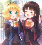 2girls :d :o ^_^ aqua_eyes bangs black_robe blonde_hair blunt_bangs blush brown_hair closed_eyes commentary_request cup day emblem eyebrows_visible_through_hair facing_another fence foam_mustache gochuumon_wa_usagi_desu_ka? gryffindor hair_ribbon hand_to_own_mouth harry_potter hogwarts_school_uniform holding holding_cup kirima_sharo long_hair looking_at_another mozukun43 mug multiple_girls open_mouth outdoors ravenclaw ribbon robe school_uniform short_hair smile twitter_username ujimatsu_chiya white_ribbon wide_sleeves wing_collar