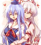 2girls ^_^ armband artist_name bangs beige_shirt blue_dress blue_hair blue_headwear blush bow breasts closed_eyes closed_mouth collarbone collared_dress collared_shirt dress eyebrows_visible_through_hair fujiwara_no_mokou hair_between_eyes hair_bow hat heart highres holding_person hug jewelry kamishirasawa_keine long_hair long_sleeves multicolored_bow multicolored_hair multiple_girls multiple_hair_bows open_mouth pants pudding_(skymint_028) puffy_short_sleeves puffy_sleeves red_bow red_neckwear red_pants shirt short_sleeves signature silver_hair smile suspenders touhou two-tone_hair upper_body white_bow white_sleeves