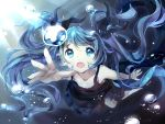 1girl aqua_eyes bison_cangshu black_dress blue_hair bubble caustics commentary dress foreshortening from_above hair_ribbon hatsune_miku highres long_hair open_mouth reaching ribbon shinkai_shoujo_(vocaloid) signature solo spaghetti_strap sunlight twintails underwater very_long_hair vocaloid