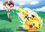 1girl absurdres bag bare_legs beanie blue_sky brown_hair catastropika_(pokemon) closed_eyes clouds cloudy_sky commentary deviantart_username english_commentary gen_1_pokemon grass green_shorts harlequinwaffles hat highres leg_up mixed-language_commentary mizuki_(pokemon) open_mouth outdoors pikachu pokemon pokemon_(creature) pokemon_(game) pokemon_sm red_footwear red_headwear shirt shoes short_hair short_shorts short_sleeves shorts shoulder_bag sky smile sneakers spanish_commentary sparkle speed_lines standing standing_on_one_leg tears throwing tied_shirt upper_teeth watermark web_address yellow_shirt z-move z-ring |d