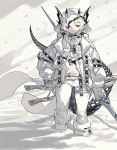1girl belt black_eyepatch boots dual_wielding eyepatch fur-trimmed_boots fur_trim gloves half-closed_eyes highres holding holding_spear holding_weapon hood hood_up horns ierotak jacket mole mole_under_eye navel original parted_lips polearm red_eyes short_hair snow snowing solo spear tail thigh_strap twitter_username walking weapon white_footwear white_gloves white_hair white_jacket white_theme