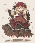 1girl aki_minoriko alternate_costume arinu barefoot blonde_hair blush dress embellished_costume eyebrows_visible_through_hair food food_themed_hair_ornament frilled_dress frills fruit grape_hair_ornament grapes grey_background hair_ornament hat highres leaf_hair_ornament looking_at_viewer mob_cap open_mouth outstretched_arm red_eyes simple_background solo touhou wide_sleeves