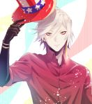 1boy alternate_costume alternate_hairstyle bangs blue_eyes bodysuit eyeshadow fate/grand_order fate_(series) hair_between_eyes hat highres hukahire0313 jewelry karna_(fate) looking_at_viewer makeup male_focus pale_skin red_shirt shiny shiny_hair shirt simple_background single_earring solo top_hat upper_body white_hair