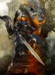 1boy animal armor artorias_the_abysswalker blue_cape breathing_fire cape clouds cloudy_sky dark_souls day debris embers faceless fangs fire fire_body flaming_eyes flaming_sword flaming_weapon full_armor great_grey_wolf_sif grey_wolf highres kekai_kotaki knight light_rays long_sword looking_at_viewer oversized_animal ruins severed_arm severed_limb shield sky souls_(from_software) stairs standing sunlight torn_cape torn_clothes tree wolf work_in_progress