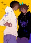 2boys arjuna_(fate/grand_order) arjuna_alter bangs black_eyes brown_hair dark_skin dark_skinned_male denim fate/grand_order fate_(series) glowing_horns gradient_hair hair_between_eyes highres hood hood_down hoodie horns hukahire0313 jeans legs_together looking_at_viewer looking_back male_focus multicolored_hair multiple_boys open_mouth pants shiny shiny_hair simple_background solo sparkle upper_body yellow_background