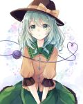 1girl :o alternate_hair_length alternate_hairstyle aqua_hair between_legs black_headwear collar commentary_request crescent_moon eyebrows_visible_through_hair frilled_shirt_collar frilled_skirt frilled_sleeves frills green_collar green_eyes green_skirt hair_between_eyes hand_between_legs hat hat_ribbon heart heart-shaped_pupils heart_of_string highres komeiji_koishi looking_at_viewer medium_hair moon partial_commentary remokawa ribbon shirt sitting skirt sleeves_past_elbows solo star_(symbol) starry_background symbol-shaped_pupils third_eye touhou upper_body white_background yellow_shirt