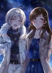 2girls anastasia_(idolmaster) brown_eyes brown_hair closed_eyes coat earrings fur-trimmed_coat fur_trim gen_(enji) highres idolmaster idolmaster_cinderella_girls jewelry long_hair multiple_girls necklace night night_sky nitta_minami open_clothes open_coat open_mouth short_hair silver_hair sky smile