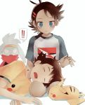 !! 2boys blue_eyes blush brown_hair character_print closed_eyes closed_mouth commentary_request eyelashes fingernails gen_1_pokemon gen_8_pokemon gou_(pokemon) hair_ornament highres lap_pillow looking_at_another looking_down multiple_boys open_mouth pikachu pokemon pokemon_(anime) pokemon_(creature) pokemon_swsh_(anime) print_shirt raboot satoshi_(pokemon) shirt short_sleeves smile tongue usatchi_(user_paxg7323) white_background