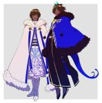 2boys alternate_costume arjuna_(fate/grand_order) arjuna_alter bangs black_eyes brown_hair cape capelet dark_skin dark_skinned_male fate/grand_order fate_(series) floating full_body fur_collar fur_trim glowing_horns hair_between_eyes highres horns hukahire0313 looking_at_viewer male_focus multiple_boys shiny shiny_hair shoes simple_background solo