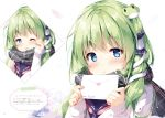 1girl animal bangs blue_eyes blush character_name eyebrows_visible_through_hair flower frog_hair_ornament green_hair hair_ornament hair_tubes highres holding kochiya_sanae letter long_hair long_sleeves looking_at_viewer miyase_mahiro one_eye_closed open_mouth scarf shiny shiny_hair simple_background sleeves_past_wrists smile snake snake_hair_ornament solo touhou upper_body white_background winter_clothes