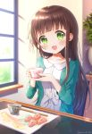1girl :d bangs blunt_bangs blurry blurry_background blush brown_hair chopsticks collarbone commentary cup day depth_of_field eyebrows_visible_through_hair gochuumon_wa_usagi_desu_ka? green_eyes green_jacket hair_ribbon head_tilt highres holding holding_cup indoors jacket long_hair looking_at_viewer mozukun43 open_mouth reflection ribbon shirt sitting smile solo table teacup tray twitter_username ujimatsu_chiya white_ribbon white_shirt window