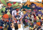 4boys bangs baseball_cap black_hair brothers cape character_name charizard commentary_request dande_(pokemon) dark_skin dark_skinned_male dreepy dynamax_band facial_hair flygon fur-trimmed_jacket fur_trim gen_1_pokemon gen_3_pokemon gen_6_pokemon gen_8_pokemon gloves goodra goomy gym_leader hat highres hop_(pokemon) jacket kibana_(pokemon) long_hair looking_at_viewer multiple_boys open_mouth orange_headwear poke_ball pokemon pokemon_(creature) pokemon_(game) pokemon_swsh purple_hair redhead shirt shorts siblings single_glove smile spiky_hair ultra_ball wataru_(pokemon) yellow_eyes yukin_(es)