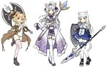 3girls :d aina_rive animal_ears axe bare_shoulders black_footwear black_gloves blue_bow blue_eyes blue_skirt blush boots bow brown_eyes brown_footwear brown_hair brown_jacket cat_ears cat_girl cat_tail commentary_request dress elbow_gloves fingerless_gloves gloves hair_bow heterochromia holding holding_axe holding_shield holding_spear holding_staff holding_weapon jacket long_hair long_sleeves mauve multiple_girls off_shoulder old_school_swimsuit one-piece_swimsuit open_clothes open_jacket open_mouth original pleated_skirt polearm purple_bow purple_dress school_swimsuit shield silver_hair simple_background sketch skirt smile spear staff standing standing_on_one_leg strapless strapless_dress striped striped_legwear swimsuit tail tail_bow thigh-highs thighhighs_under_boots tiara two_side_up very_long_hair weapon white_background white_legwear white_swimsuit