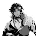 1boy ahoge bangs bartholomew_roberts_(fate/grand_order) blue_eyes bluespeaker collar cross cross_necklace dark_skin dark_skinned_male eyebrows_visible_through_hair fate/grand_order fate_(series) frilled_shirt_collar frills fur_collar greyscale jewelry looking_at_viewer male_focus monochrome multicolored_hair necklace partially_colored smile solo two-tone_hair upper_body white_background