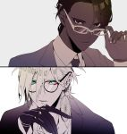 2boys adjusting_eyewear alternate_costume alternate_hairstyle arjuna_(fate/grand_order) bangs black_eyes blue_eyes brown_hair dark_skin dark_skinned_male eyeshadow fate/grand_order fate_(series) formal glasses gloves hair_between_eyes hand_on_own_chin highres hukahire0313 jewelry karna_(fate) looking_at_viewer makeup male_focus multiple_boys necktie pale_skin shiny shiny_hair simple_background split_theme upper_body