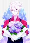 1boy alternate_costume apron bangs blue_eyes bouquet english_text fate/grand_order fate_(series) flower hair_between_eyes heterochromia highres hukahire0313 jewelry karna_(fate) male_focus open_clothes pale_skin pink_shirt red_eyes shiny shiny_hair shirt simple_background single_earring solo upper_body white_hair