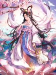 1girl absurdres bangs bare_legs black_hair blue_hair cherry_blossoms eyebrows fan flower hand_on_own_chest highres holding holding_fan japanese_clothes jewelry lem_tea long_hair looking_at_viewer lotus original parted_bangs ring smile standing