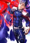 1boy armor bad_hands blue_hair blurry blurry_background bodysuit covered_abs cu_chulainn_(fate)_(all) earrings fate/grand_order fate/stay_night fate_(series) fighting_stance gae_bolg glowing glowing_weapon highres holding holding_weapon jewelry lancer long_hair long_sleeves looking_at_viewer male_focus pauldrons polearm ponytail red_eyes shoulder_armor solo spear teeth tight upper_body weapon yoshio_(55level)
