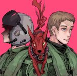 2boys ace_combat ace_combat_zero blue_eyes brown_hair cipher_(ace_combat) collar demon dog highres larry_foulke looking_afar multiple_boys open_mouth pilot pilot_helmet pilot_suit red_eyes sharp_teeth spiked_collar spikes takato15_c teeth tongue yellow_eyes