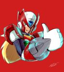 1boy absurdres android blue_eyes green_eyes helmet highres i.takashi red_background rockman rockman_x smirk solo thumbs_up upper_body zero_(rockman)