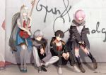 2boys 2girls alternate_costume anastasia_(fate/grand_order) bangs bass_guitar black_hair blue_eyes blue_skirt brick_wall coat drumsticks fate/grand_order fate_(series) fujimaru_ritsuka_(male) full_body fur-trimmed_hood fur_trim fuyuhi_tsukika graffiti grey_eyes hair_over_one_eye highres holding holding_instrument hood instrument jewelry kadoc_zemlupus leaning_back long_hair long_sleeves looking_at_viewer mash_kyrielight multiple_boys multiple_girls open_clothes open_coat orange_eyes outdoors purple_hair ring short_hair short_sleeves silver_hair sitting sitting_on_floor skirt standing very_long_hair violet_eyes wall white_legwear