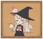 1girl :< =_= ayu_(mog) black_dress black_headwear blonde_hair blush book bow closed_eyes crying dress facing_viewer ghost hair_bow hat holding holding_book long_hair long_sleeves original red_bow solo tears transparent_border witch witch_hat