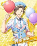 balloon brown_eyes brown_hair character_name dress idolmaster idolmaster_side-m kamiya_yukihiro short_hair smile wink