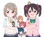 :d blue_hair bow brown_hair chibi chibi_on_head crossed_arms frown green_eyes hair_bow hair_ornament hairclip highres hoshizora_rin koizumi_hanayo kunikida_hanamaru kurosawa_ruby love_live! love_live!_school_idol_festival_all_stars love_live!_school_idol_project love_live!_sunshine!! miyamaki nakasu_kasumi nijigasaki_academy_uniform nishikino_maki on_head open_mouth orange_hair otonokizaka_school_uniform ousaka_shizuku pink_hair red_eyes redhead school_uniform short_twintails smile smug sweatdrop tennouji_rina tsushima_yoshiko twintails uranohoshi_school_uniform violet_eyes yazawa_nico yellow_eyes