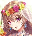 1girl ahoge bridal_veil bride brown_hair earrings eyebrows_visible_through_hair eyelashes face flower hair_between_eyes head_wreath highres jewelry looking_at_viewer necklace original portrait sakiyamama solo veil violet_eyes