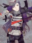 1boy androgynous assault_rifle belt drawr gloves gun hat head_tilt heterochromia holding holding_gun holding_weapon long_hair looking_at_viewer male_focus military military_hat military_uniform nishihara_isao original over_shoulder photoshop_(medium) purple_gloves purple_hair rifle smile solo uniform violet_eyes weapon weapon_over_shoulder weapon_request yellow_eyes