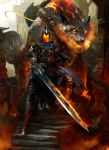 1boy animal armor artorias_the_abysswalker blue_cape breathing_fire cape clouds cloudy_sky dark_souls day debris embers faceless fangs fire fire_body flaming_eyes flaming_sword flaming_weapon full_armor great_grey_wolf_sif grey_wolf highres kekai_kotaki knight light_rays long_sword looking_at_viewer oversized_animal ruins severed_arm severed_limb shield sky souls_(from_software) stairs standing sunlight tagme torn_cape torn_clothes tree wolf