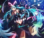 1girl :d aqua_eyes aqua_hair argyle argyle_legwear bangs black_legwear blue_background blush bow bowtie breasts brown_footwear commentary cube detached_sleeves dress facial_mark full_body gloves glowing gradient gradient_background hair_between_eyes hat hatsune_miku headgear highres holding holding_microphone layered_dress long_hair long_sleeves looking_at_viewer magical_mirai_(vocaloid) medium_breasts microphone mismatched_legwear multicolored multicolored_clothes multicolored_dress open_mouth outstretched_arms red_bow red_neckwear rijjin single_detached_sleeve smile solo sparkle star_(symbol) striped striped_legwear thigh-highs top_hat twintails vertical-striped_legwear vertical_stripes very_long_hair vocaloid white_gloves white_headwear