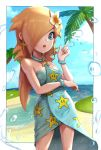beach bracelet earrings flower gonzarez hair_flower hair_ornament hair_over_one_eye highres jewelry mario_(series) mario_kart_tour open_mouth rosalina super_mario_galaxy swimsuit wet