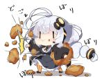 1girl antenna_hair bangs black_jacket blush braid breasts chibi commentary_request dress food food_on_face food_request full_body grey_dress hair_between_eyes hair_ornament headphones headset holding holding_food jacket kizuna_akari large_breasts long_hair long_sleeves milkpanda open_clothes open_jacket orange_legwear pantyhose puffy_long_sleeves puffy_sleeves punching shirt silver_hair sleeves_past_wrists solo standing star_(symbol) striped striped_legwear translation_request twin_braids twintails vertical-striped_legwear vertical_stripes very_long_hair voiceroid white_background white_shirt |_|