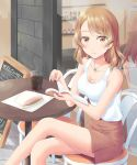 1girl alternate_costume book breasts brown_eyes brown_skirt casual chair chalkboard commentary_request cowboy_shot cropped_legs drink food highres houston_(kantai_collection) kantai_collection kiryu_naoto large_breasts light_brown_hair long_hair looking_at_viewer reflection sandwich sign sitting skirt solo table tank_top