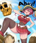 1girl bangs bare_shoulders beer_mug cup eyebrows_visible_through_hair foam gloves hat highres hololive houshou_marine mug open_mouth pirate_hat q_kotetsu red_eyes redhead ribbon skirt skull sky smile tankard thigh-highs twintails virtual_youtuber