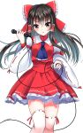 1girl ascot bangs black_eyes black_hair blush bow dated detached_sleeves eyebrows_visible_through_hair hair_between_eyes hair_bow hair_tubes hakurei_reimu heart heart_of_string highres holding holding_microphone long_hair long_sleeves looking_at_viewer microphone red_bow red_ribbon red_skirt ribbon ribbon-trimmed_legwear ribbon-trimmed_sleeves ribbon_trim sidelocks simple_background skirt solo thigh-highs thigh_gap touhou white_background white_legwear wide_sleeves yamaguchi_yuu