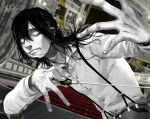 1boy auditorium blurry blurry_background chair cherico curtains fingernails greyscale hair_between_eyes holding horror_(theme) indoors long_hair male_focus monochrome original parted_lips sharp_teeth signature solo spot_color suspenders teeth