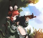 1girl animal_ear_fluff animal_ears bigcat_114514 black_bow bow braid cat_ears cat_tail chinese_commentary clouds commentary_request dress extra_ears frilled_dress frilled_sleeves frills grass green_dress gun hair_bow highres holding holding_gun holding_weapon juliet_sleeves kaenbyou_rin long_hair long_sleeves one_eye_closed pointy_ears puffy_sleeves red_eyes redhead scope solo tail touhou twin_braids walkie-talkie weapon weapon_request