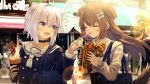 2girls :3 :d absurdres ahoge animal_ear_fluff animal_ears bag black_choker black_shirt blouse blurry blurry_background blush bone_hair_ornament bow bowtie breasts brown_hair cameo cat_ears cat_tail choker closed_eyes closed_mouth commentary day dog_ears dog_tail double-breasted eyebrows_visible_through_hair fang feeding food hair_between_eyes hairband highres holding holding_food hololive huge_filesize ice_cream_cone inugami_korone lavender_hair lens_flare long_hair long_sleeves looking_at_another misaki_nonaka multiple_girls nail_polish nekomata_okayu open_mouth outdoors plaid_neckwear sailor_collar sandwich school_bag school_uniform serafuku shirt short_hair small_breasts smile sparkle tail upper_body usada_pekora violet_eyes virtual_youtuber white_blouse white_nails white_neckwear yellow_neckwear yuujin_a_(hololive)