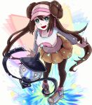 1girl 1other :d bangs black_legwear blue_eyes blue_footwear blue_sleeves bow breasts brown_hair commentary_request double_bun full_body gen_5_pokemon hat lampent large_breasts leaning_forward legwear_under_shorts long_hair looking_at_viewer mei_(pokemon) open_mouth pantyhose pink_bow poke_ball_print pokemon pokemon_(creature) pokemon_(game) pokemon_bw2 raglan_sleeves setta_shu shirt shoes short_shorts shorts sidelocks smile sneakers solo_focus standing twintails very_long_hair visor_cap white_shirt yellow_shorts