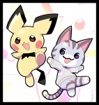:d artsy-rc black_border border cat character_request commentary copyright_request english_commentary gen_2_pokemon highres looking_at_viewer no_humans open_mouth pichu pokemon pokemon_(creature) smile standing standing_on_one_leg