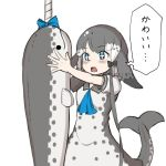+_+ 1girl black_bow blowhole blue_bow blue_neckwear bow commentary_request dolphin_tail dress grey_dress grey_hair hair_bow kemono_friends multicolored_hair narwhal_(kemono_friends) neckerchief numero_509 puffy_short_sleeves puffy_sleeves sailor_collar sailor_dress short_hair short_hair_with_long_locks short_sleeves solo stuffed_animal stuffed_toy translation_request two-tone_dress white_hair