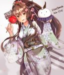1girl brown_hair cake_no_shaberu cherry_blossoms flower hair_flower hair_ornament highres japanese_clothes kantai_collection kimono long_hair looking_at_viewer open_mouth ponytail yamato_(kantai_collection)