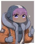 1girl apex_legends bangs blue_sweater blush brown_jacket closed_mouth cosplay dark_skin double_thumbs_up eyebrows_visible_through_hair fate/prototype fate/prototype:_fragments_of_blue_and_silver fate_(series) gloves grey_background grey_gloves hair_between_eyes hassan_of_serenity_(fate) highres hood hood_down hood_up hooded_jacket i.u.y jacket long_sleeves open_clothes open_jacket puffy_long_sleeves puffy_sleeves purple_hair ribbed_sweater smile solo sparkle sweater thumbs_up two-tone_background upper_body violet_eyes wattson_(apex_legends) wattson_(apex_legends)_(cosplay) white_background