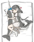 >_< 1girl black_bow blowhole blue_bow blue_neckwear bow commentary_request dolphin_tail dress grey_dress grey_hair hair_bow heart hug kemono_friends multicolored_hair narwhal_(kemono_friends) neckerchief no_shoes numero_509 on_bed puffy_short_sleeves puffy_sleeves sailor_collar sailor_dress short_hair short_hair_with_long_locks short_sleeves socks solo stuffed_animal stuffed_toy two-tone_dress white_hair white_legwear