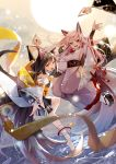 2girls animal_ears arm_up azur_lane bandages bell black_hair braid detached_sleeves dog_ears dog_tail earrings fang geta highres hikimayu japanese_clothes jewelry jingle_bell long_hair multiple_girls red_eyes shigure_(azur_lane) single_braid skirt tail war white_hair wide_sleeves wristband yetworldview_kaze yuudachi_(azur_lane)