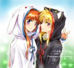 2girls alternate_costume animal_ears blonde_hair blush couple fate_testarossa happy long_hair lyrical_nanoha mahou_shoujo_lyrical_nanoha mahou_shoujo_lyrical_nanoha_strikers multiple_girls orange_hair pajamas red_eyes simple_background smile takamachi_nanoha user_xgna8347 v violet_eyes yuri