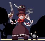 1girl avery_(skullgirls) bird blue_background bomb bow cigar commentary_request crown495 dress extra_eyes eye_socket full_body george_the_bomb gloves grin gun handgun hat highres holding holding_cigar holding_knife holding_weapon knife mechanical_arms orange_hair peacock_(skullgirls) red_bow red_eyes revolver sharp_teeth short_hair short_sleeves silhouette simple_background skullgirls smile smoke smoking spotlight standing teeth top_hat weapon